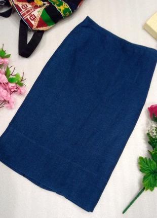 Крутая базовая повседневная джинсовая миди юбка спідниця синяя от zara s