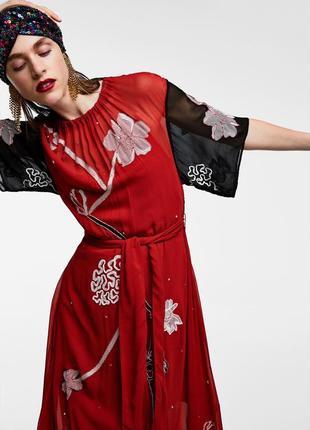 Платье zara с вышивкой