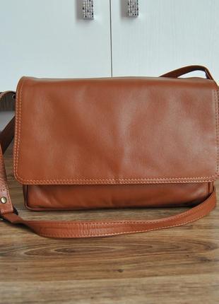 Кожаная сумка кроссбоди мессенджер everest / шкіряна сумка