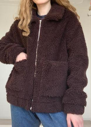 Крутая плюшевая мягкая темно коричневая шубка тедди teddy bear от new look