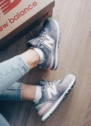 Шикарные женские кроссовки new balance gray натуральная замша сетка