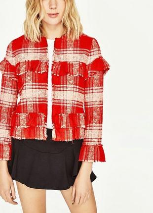 Новый жакет,пиджак,красный блейзер в клетку,бахрома,рюши,этно,бохо стиль