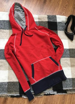 Крутое красное худи с капюшоном от hanes, размер s