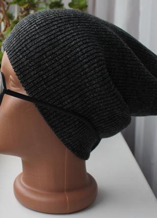 Новая осенняя шапочка чулок(на флисе), темно-серая