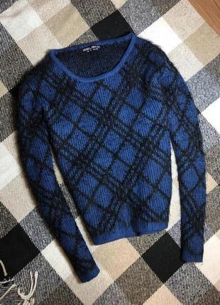 Тёплый и мягкий синий свитер с травкой, от select, размер 10/m