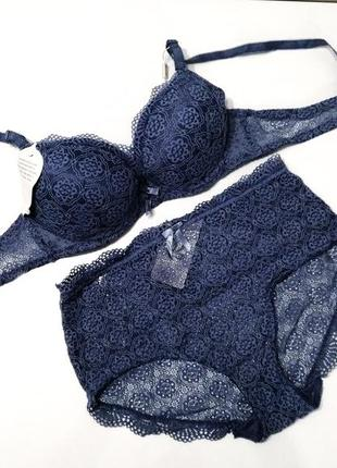 Кружевной комплект белья гелевый бюстгальтер на силиконе и высокие трусики 75,80,85в синий