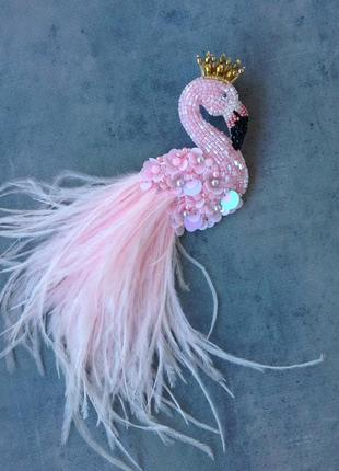 Брошь фламинго розовый с короной