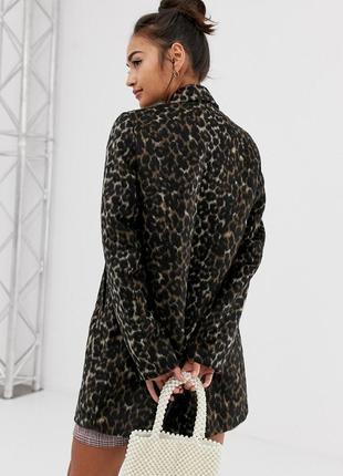 Леопардовое шерстяное пальто asos
