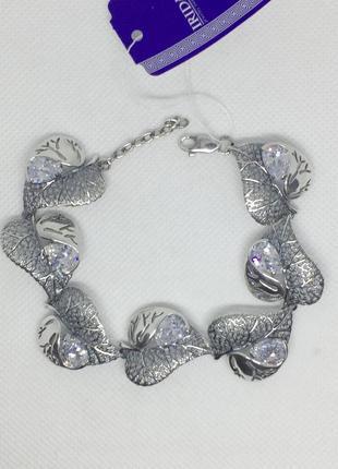 Новый красивый серебряный браслет лист с куб.цирконием 19,0-22,0 см серебро 925 пробы