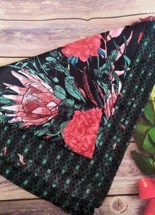 Легкий шифоновый шарф платок цветочный принт квадратный мягкий удобный