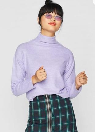 Теплый свитер с гольфом мягкий размер м