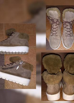 Prive ботинки кроссовки на меху размер 38 натуральная замша