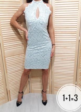 Amy childs вечернее платье s-m кружево гипюр в обтяжку халтер бюстье мини миди