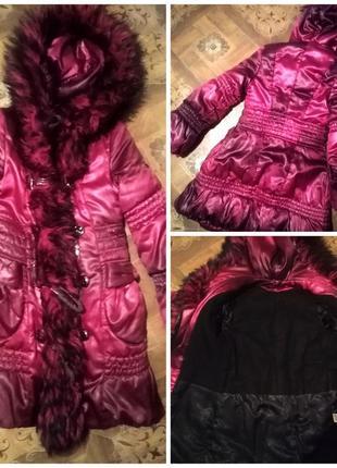 Зимнее стильное пальто платье с мехом и бантами