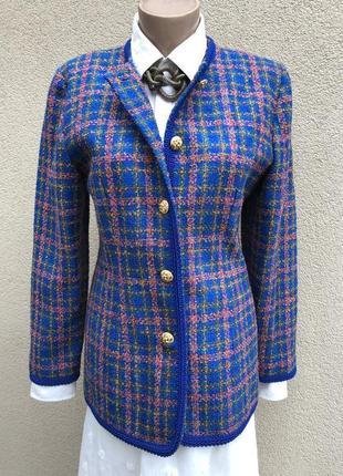 Винтаж,твидовый жакет,пиджак,блейзер,клетку,стиль шанель,шерсть
