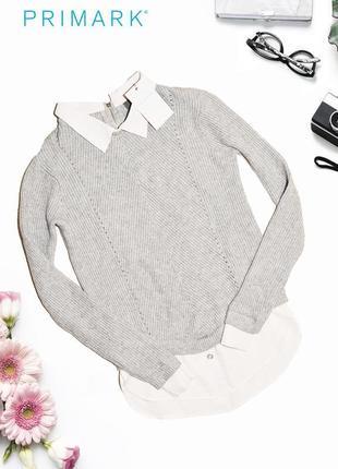 Новый свитер с имитацией рубашки primark
