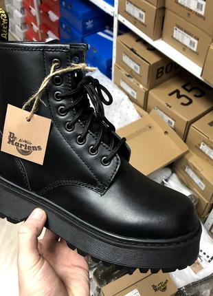 🌹dr martens jadon full black🌹женские зимние чёрные кожаные ботинки/сапоги мартинс с мехом