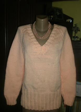 Шикарнейший неймовірний теплий світер-джемпер-пуловер (кофта) красива вязка ручна робота