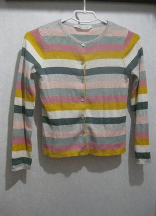 Джемпер кофта h&m цветной в полоску разноцветный на пуговицах