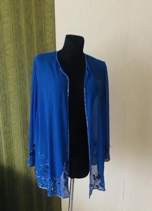 Нарядный шёлковый пиджак/ накидка с вышивкой бисером