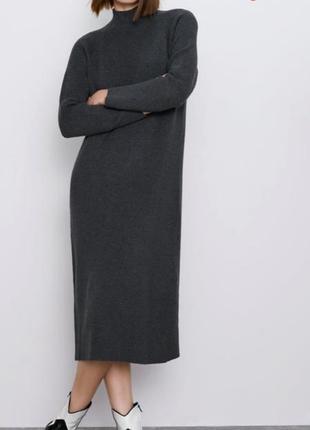 Zara платье миди теплое