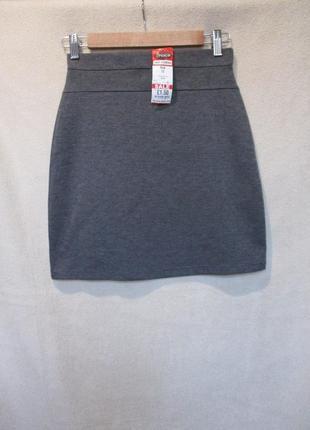 Трикотажная юбка с высокой посадкой/юбка школьная