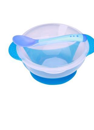 12-51 набор детской посуды детская тарелка на присоске крышка и термо ложка