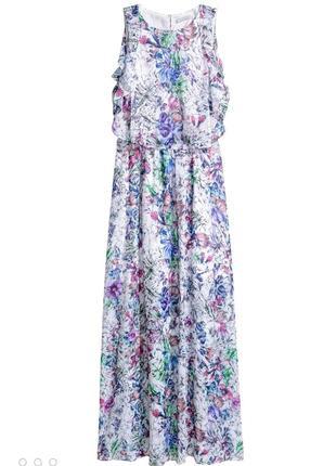 Красивое длинное платье h&m в цветочный принт