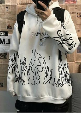 Худи с огнем толстовка огонь ручная роспись