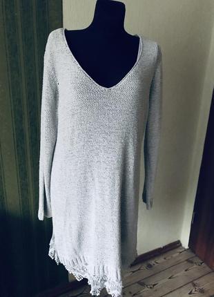 Вязаная туника/платье с кружевом