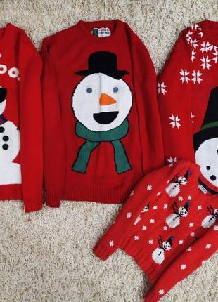 Новогодняя, кофта, свитер, сведр, новорічна, красная, снеговики,