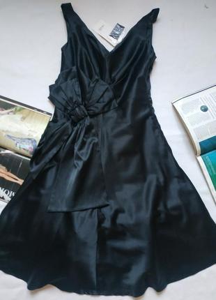 """Атласное черное платье с бантом и пышным подьюбником """"oodji"""""""