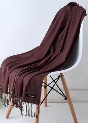 Женский однотонный широкий шарф с кисточками,женская шаль бургунди 2188