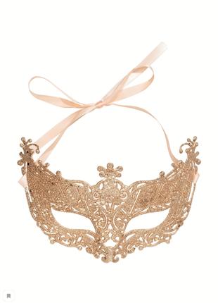 Блестящая маскарадная новогодняя маска блестки сатин атлас лента золото глиттер h&m