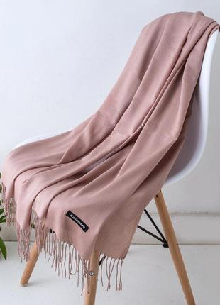 Женский однотонный широкий шарф с кисточками,женская шаль розовый 2188