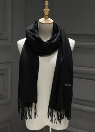 Женский однотонный широкий шарф с кисточками,женская шаль черный 2188