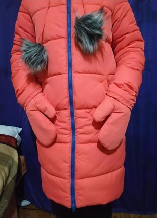 Пальто зимнее на девочку, 42 размер