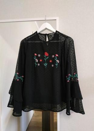 Блуза черная с вышивкой вышиванка длинный рукав волан