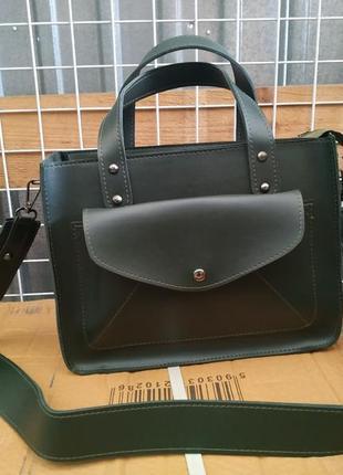 Красивая сумка средняя зеленая на модной широкой ручке