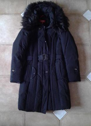 Очень теплый зимний пуховик с натуральным мехом от daser