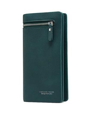 Женский зеленый кошелек клатч код 349