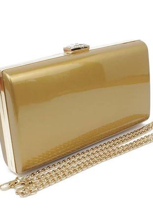 Клатч-бокс сумочка лаковая женская золотистая