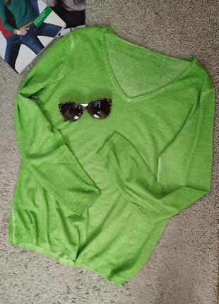 Базовый хлопковый джемпер цвета весенней зелени