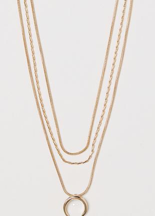 Многослойное колье в три ряда подвеска подкова кулон украшение медальон золото h&m