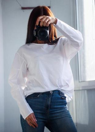 Новый белый коттоновый свитшот рубашка размер л m&s
