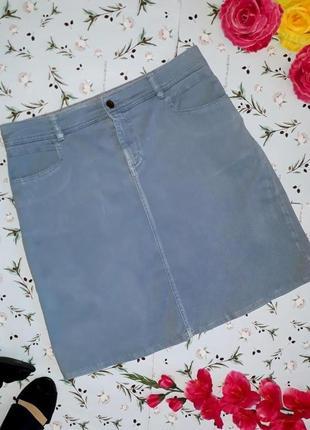 🎁1+1=3 фирменная короткая голубая джинсовая юбка happyness, размер 48 - 50