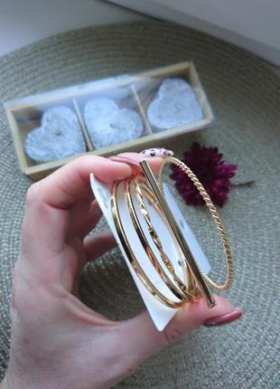 Набор браслетов кольца 5 шт h&m золото серебро бижутерия украшение