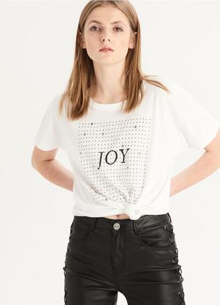 10-18 женская футболка sinsay c надписью joy