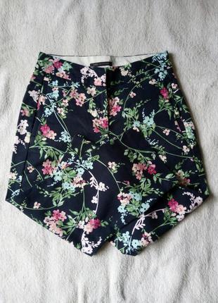 Темно-синие в цветочный принт бриджи капри укороч брюки коттон стрейч от marks & spencer