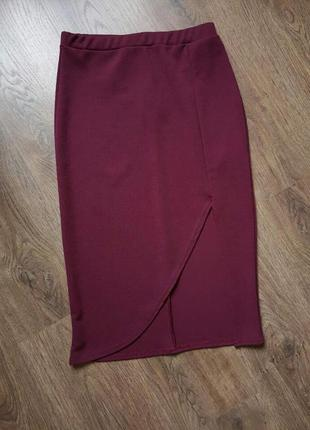 Новая красивая юбка карандаш миди с разрезом размер с-м